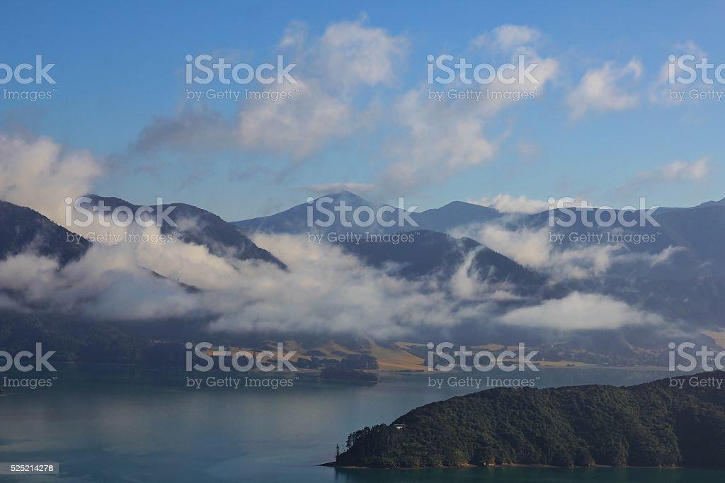 Morning scene in the Marlborough Sounds stock photo