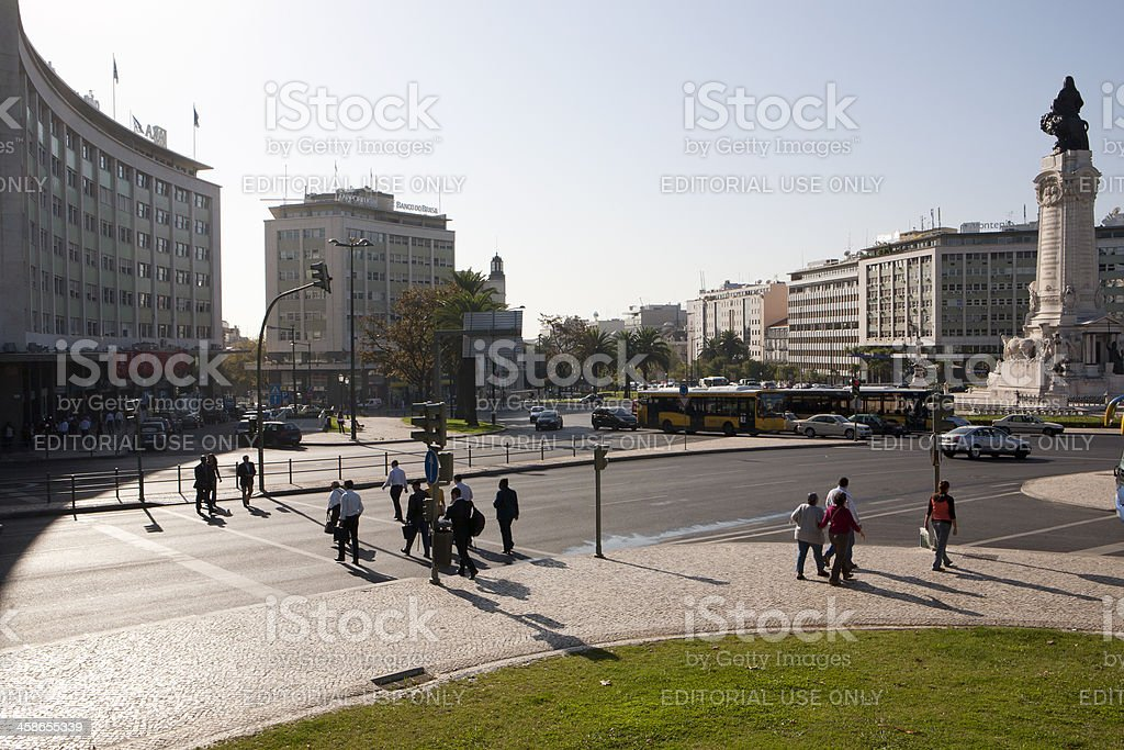 Morning scene on the Marquess of Pombal Square stock photo