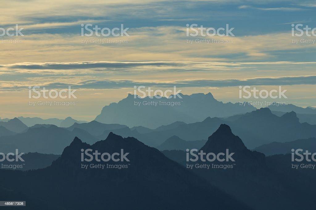Morning scene on the Rigi stock photo