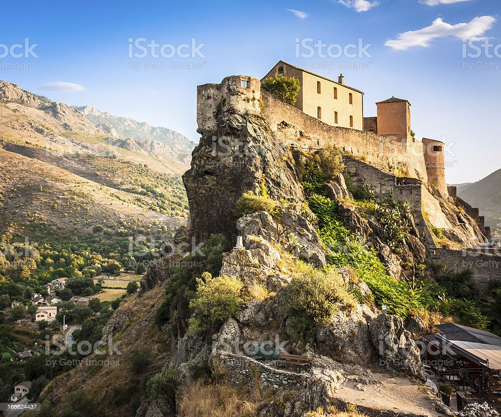 Morning scenery of a citadel in Corte stock photo