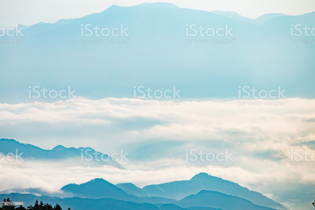 Morning sea of clouds stock photo