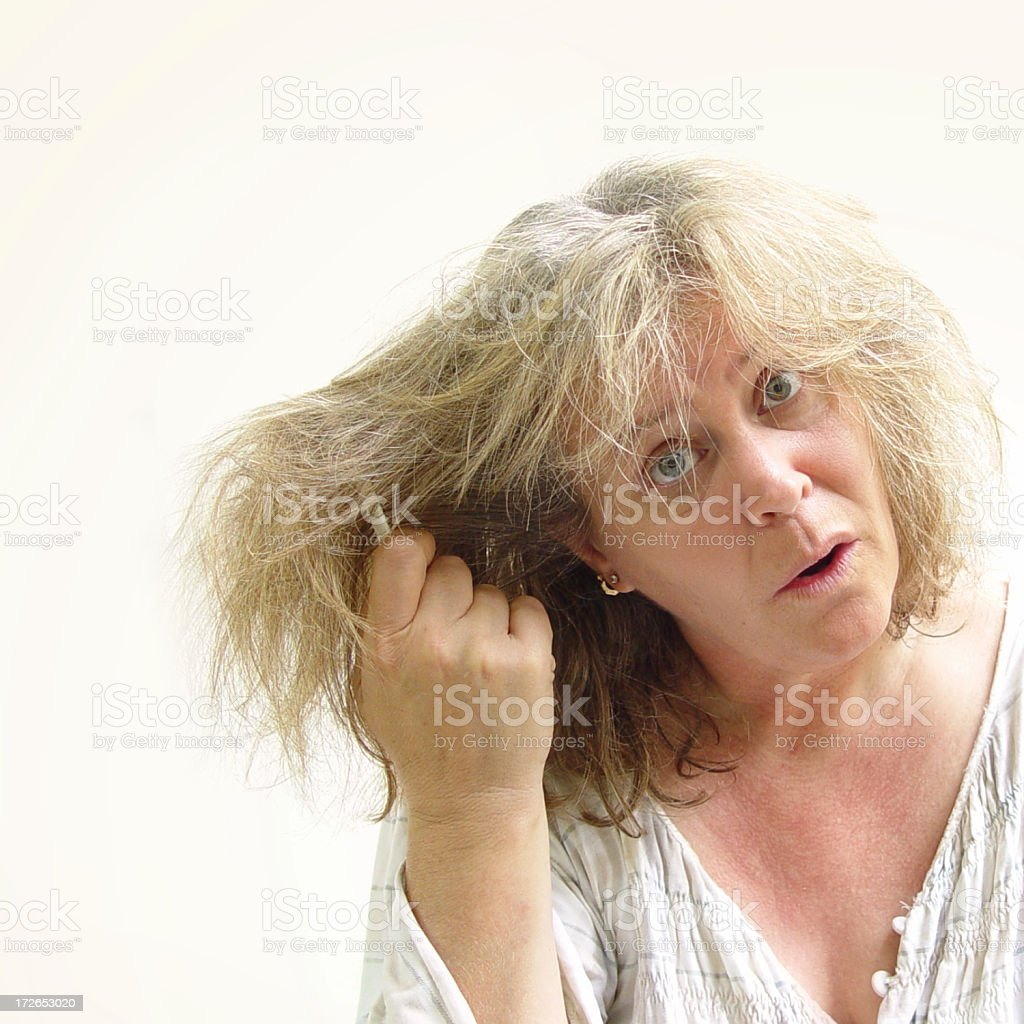 morning series - hair care stock photo