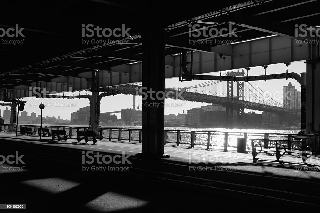Morning shadows under the Manhattan Bridge NYC monochrome nobody stock photo