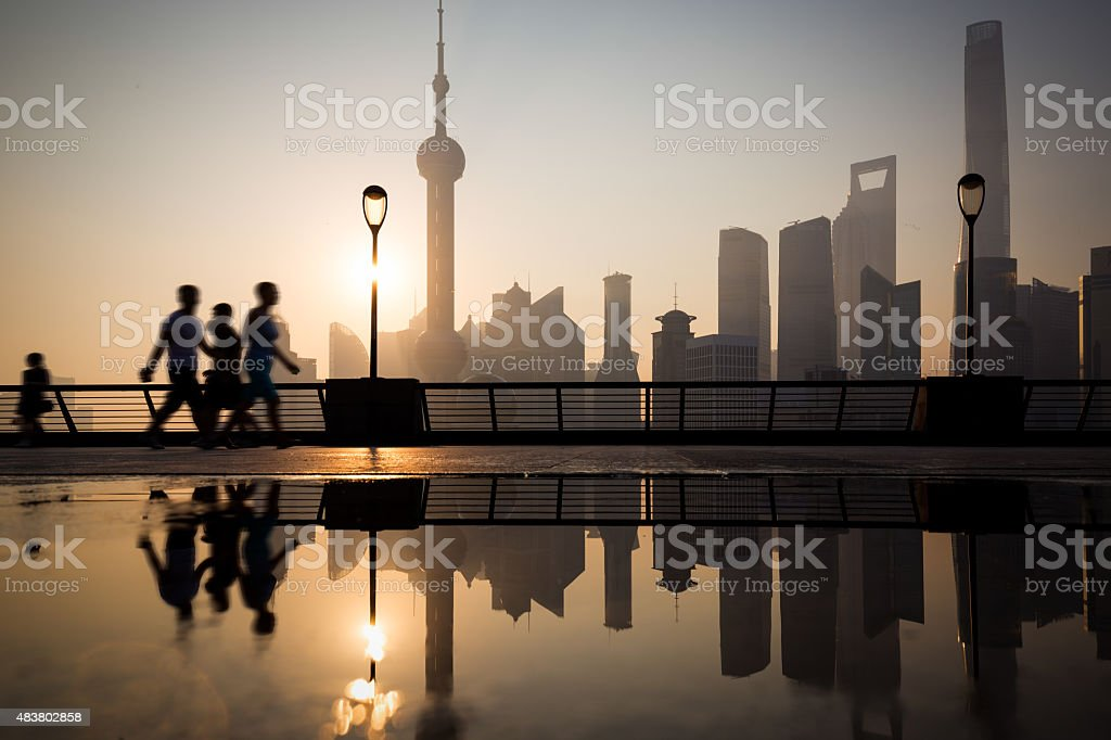 Morning, Shanghai Bund buildings stock photo