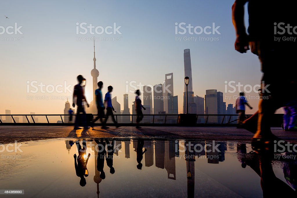 Morning, Shanghai Bund buildings stock photo