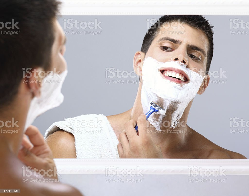 Morning shave. royalty-free stock photo