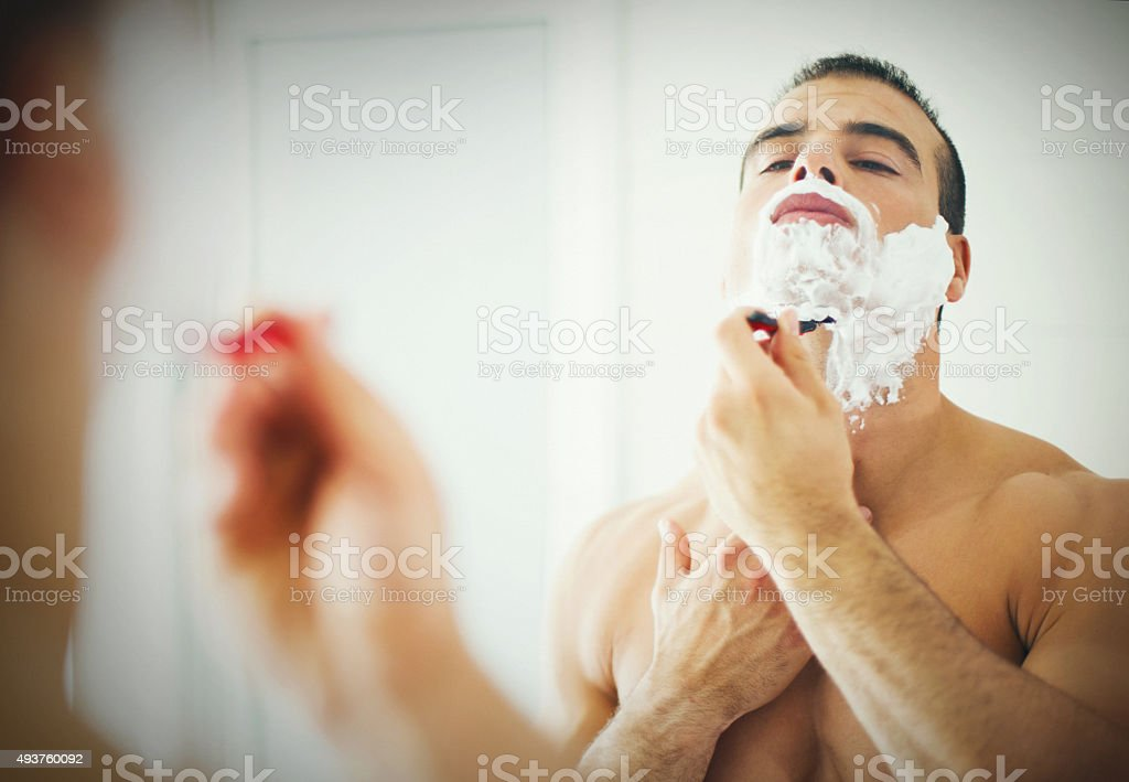 Morning shave. stock photo