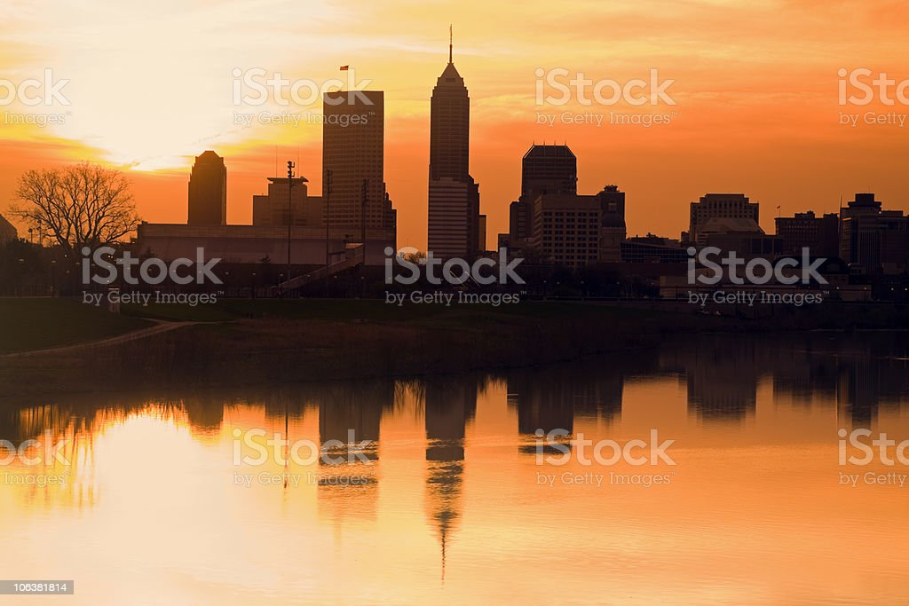 Morning silhouette of Indianapolis stock photo