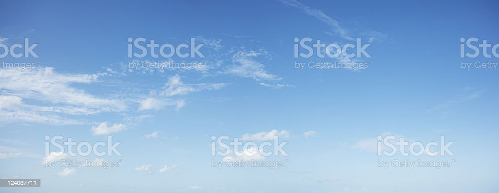 View of a blue sky in the morning. Panoramic shot in high resolution.