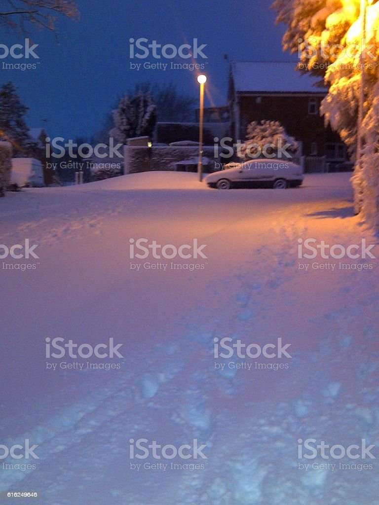 Morning Snow in Britain 2012 stock photo