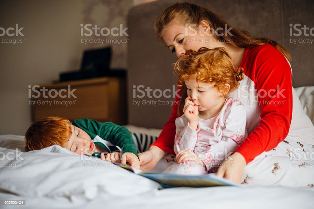 Morning Stories With Mum stock photo