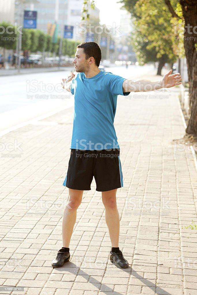 morning stretching royalty-free stock photo