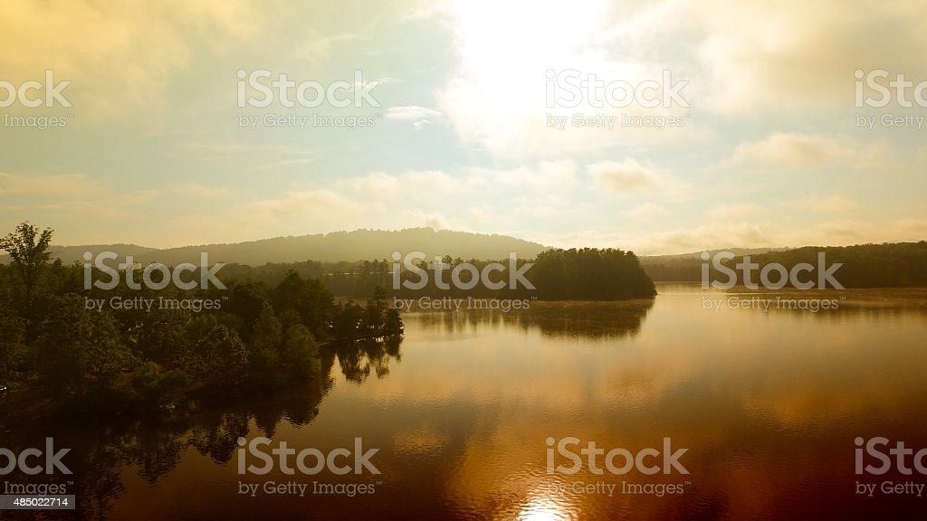 Morning Summer Lake Aerial View stock photo