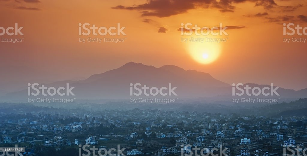 Morning sun above the Kathmandu Valley, Nepal stock photo