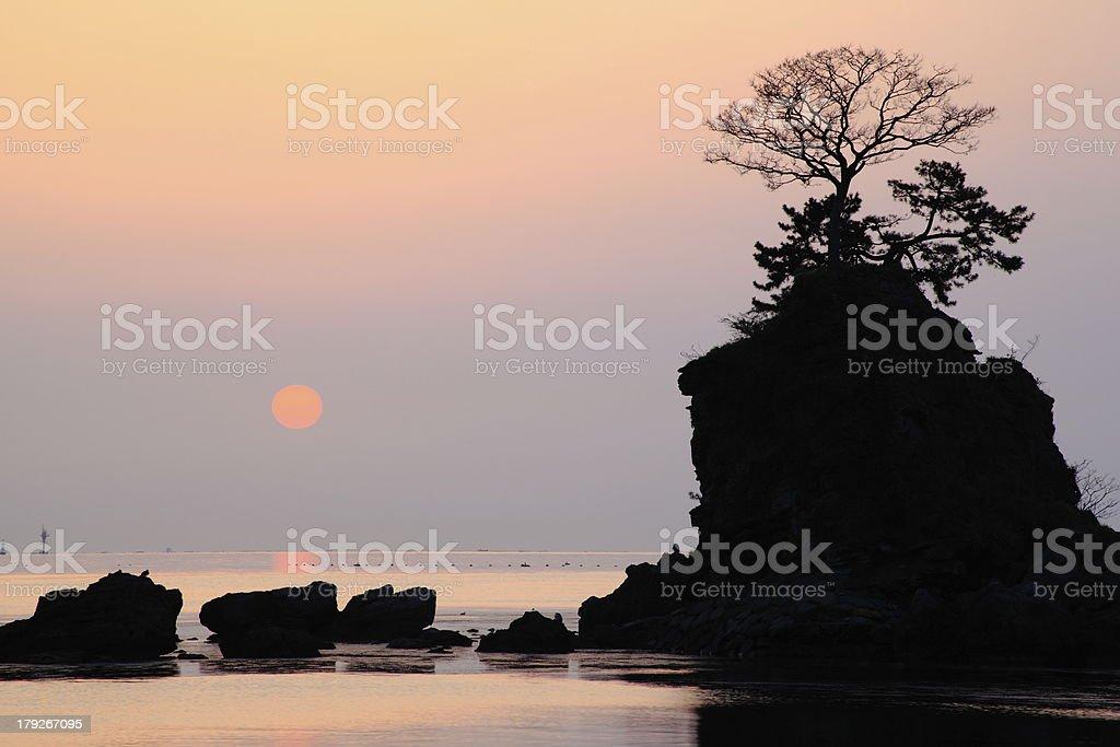 Morning sun at the Amaharashi coast stock photo