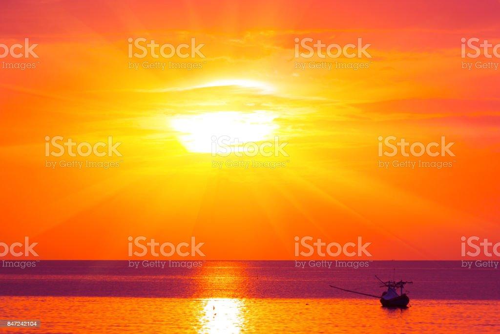 Morning sun light orange hot zone. stock photo