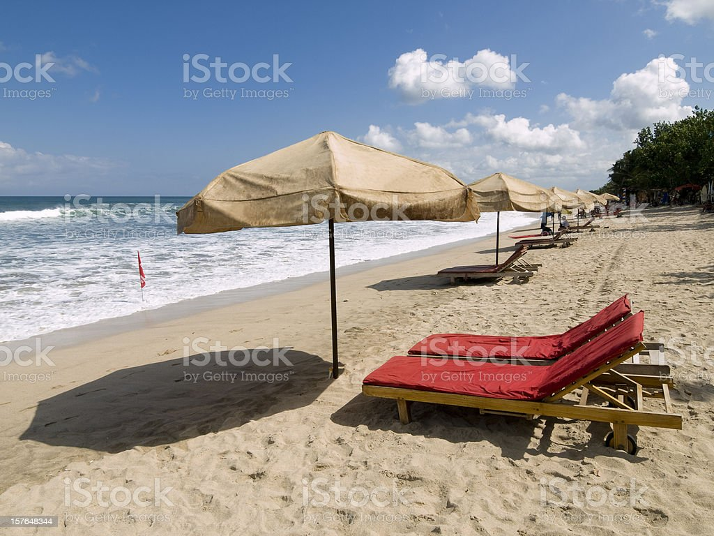 Morning sun on Kuta Beach, Bali, INdonesia stock photo