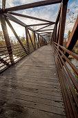 Morning sun rise on a Boise River foot bridge