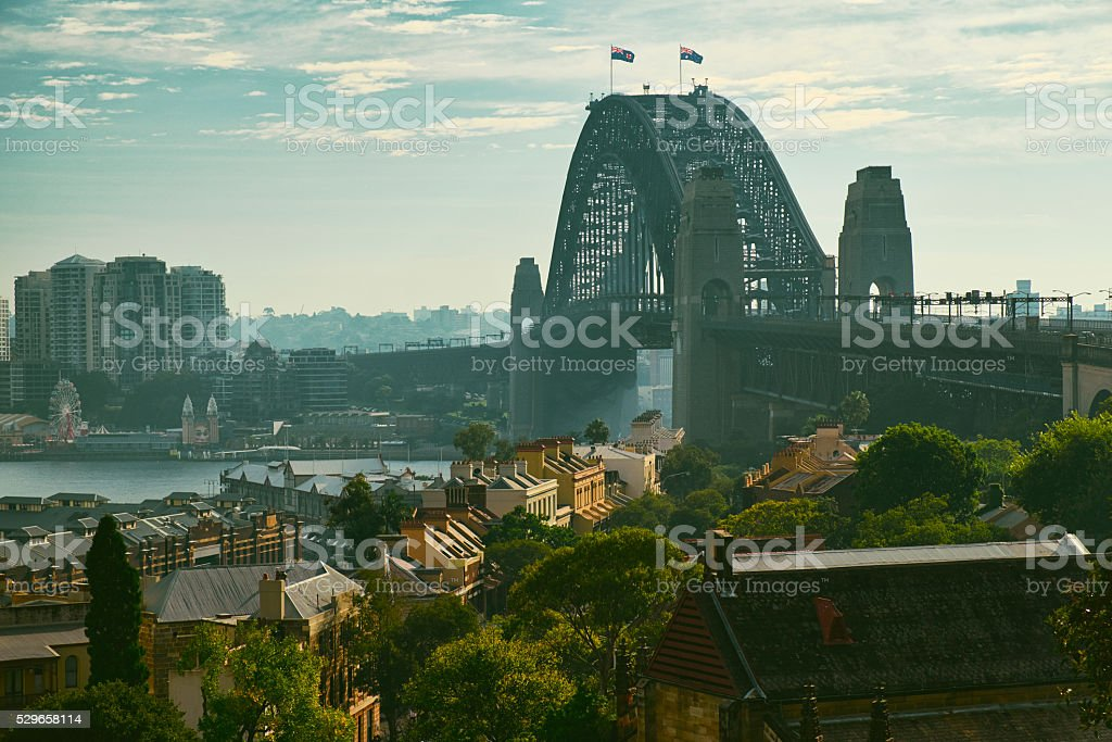 Morning Sunlight And The Sydney Harbour Bridge stock photo