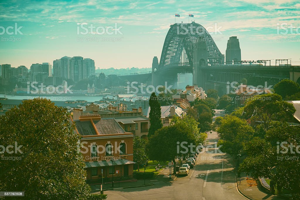 Morning Sunlight And The Sydney Harbour Bridge stock photo
