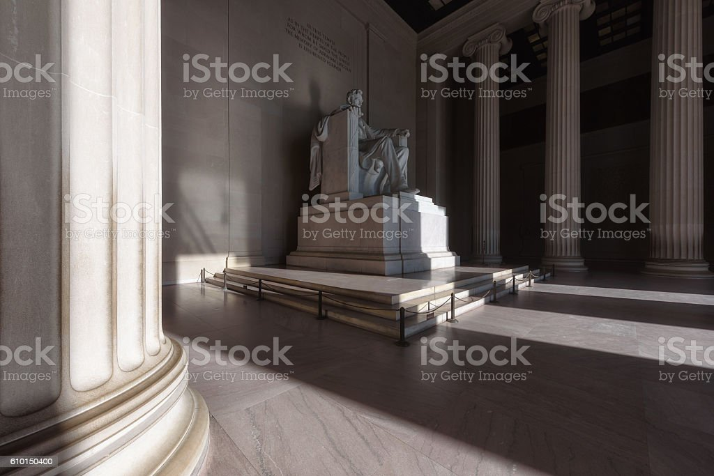 Morning Sunlight at Lincoln Memorial in Washington, DC stock photo