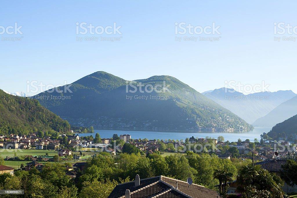 Morning sunrise at Lake Lugano stock photo