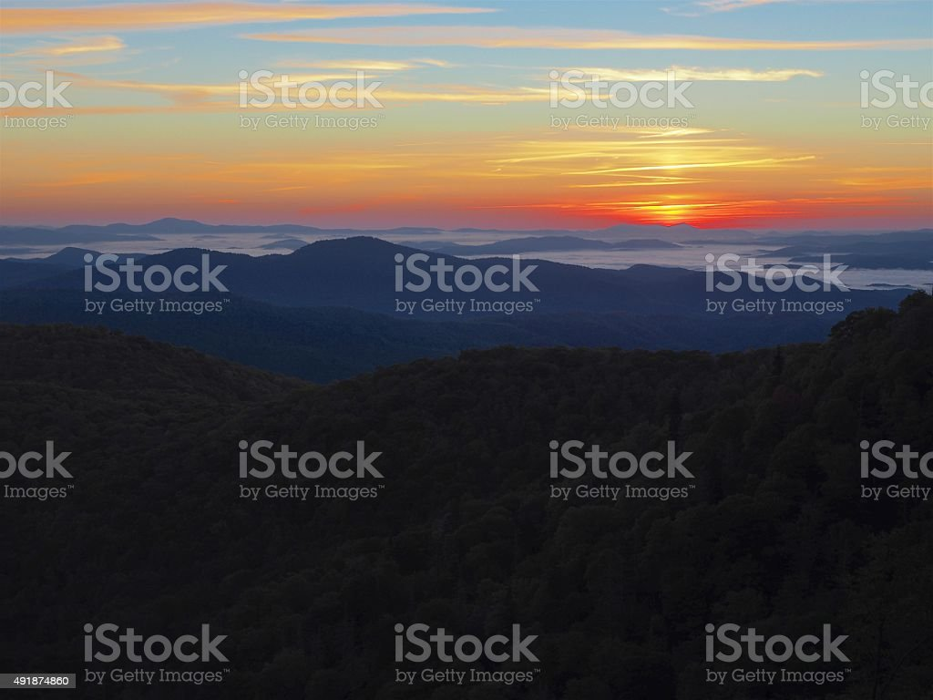 Morning Sunrise In The Blue Ridge Mountains stock photo