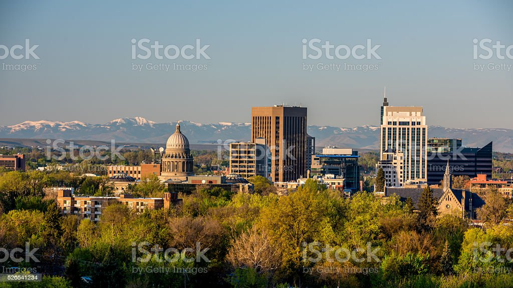 Morning sunrise on the city of Boise Idaho stock photo