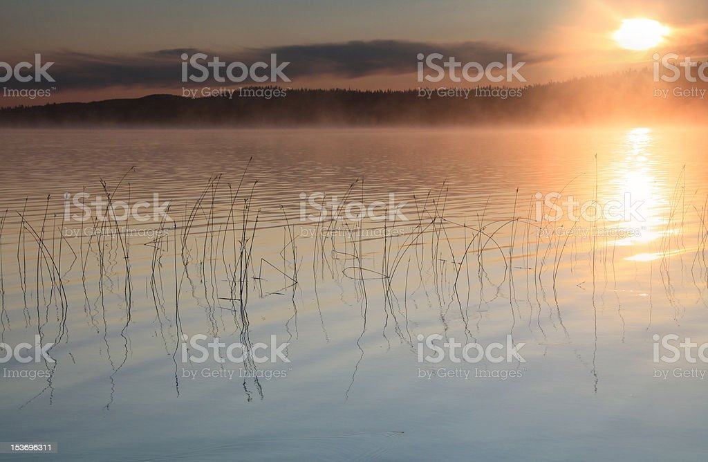 morning sunrise over churchill river stock photo