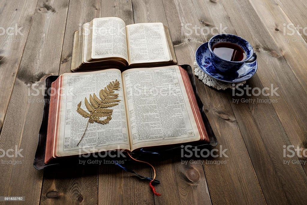 Morning tea and Bibles stock photo