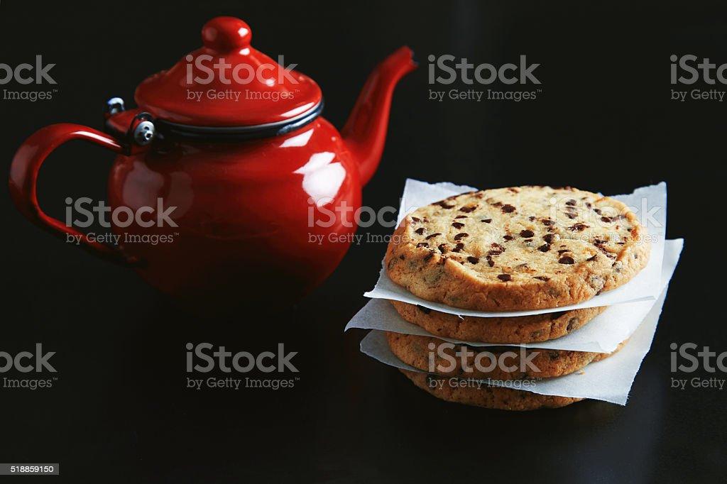 Morning tea set stock photo