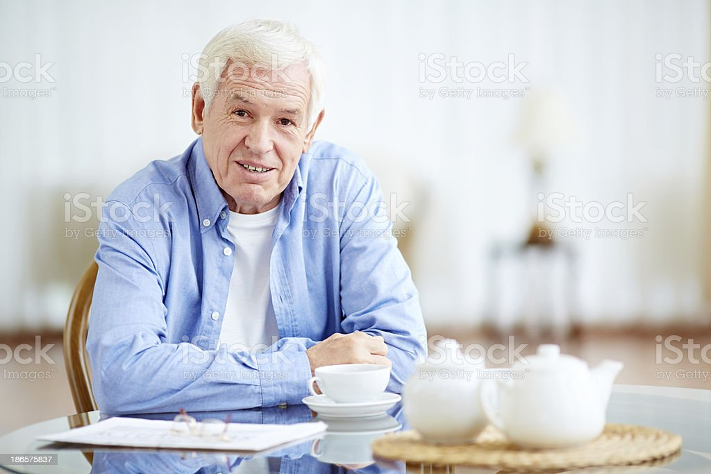 Morning tea-drinking royalty-free stock photo