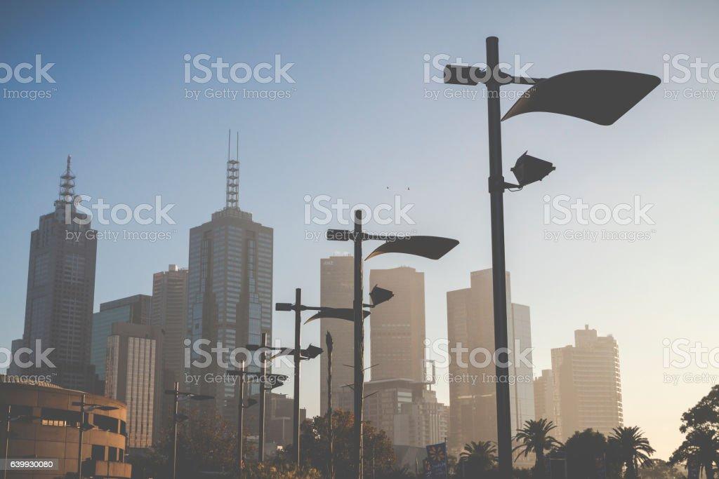 Morning time at downtown Melbourne. Australia. stock photo