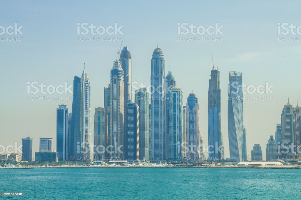 Morning time in luxury city Dubai. stock photo