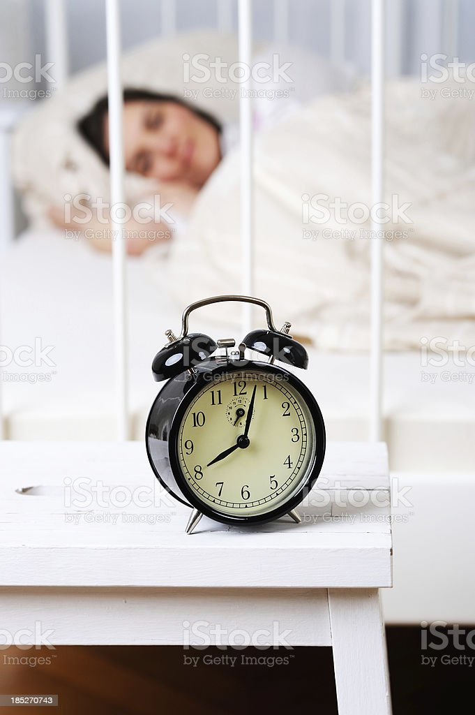 Morning Time Wake Up Black Clock 8 A.M. stock photo