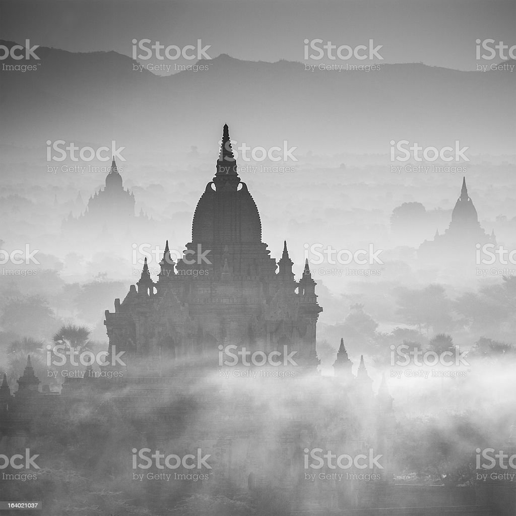Morning Time,Sunrise over temples of Bagan royalty-free stock photo