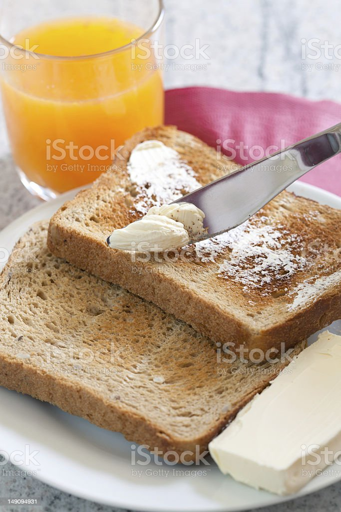 Morning toast with butter royalty-free stock photo