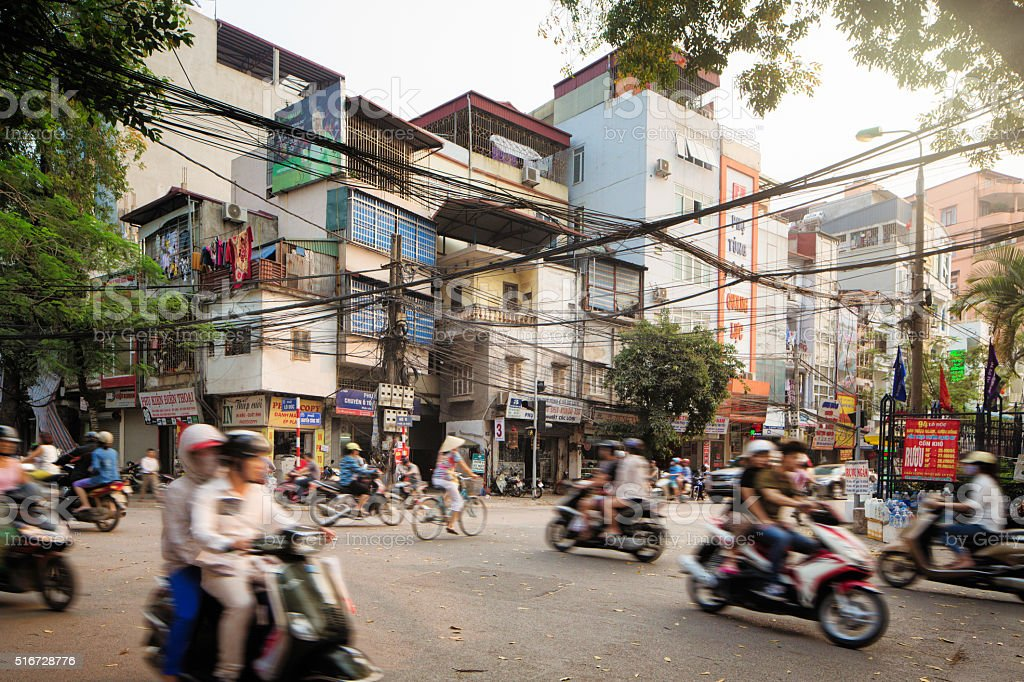 Morning Traffic on Lo Duc Street in Hanoi Vietnam stock photo