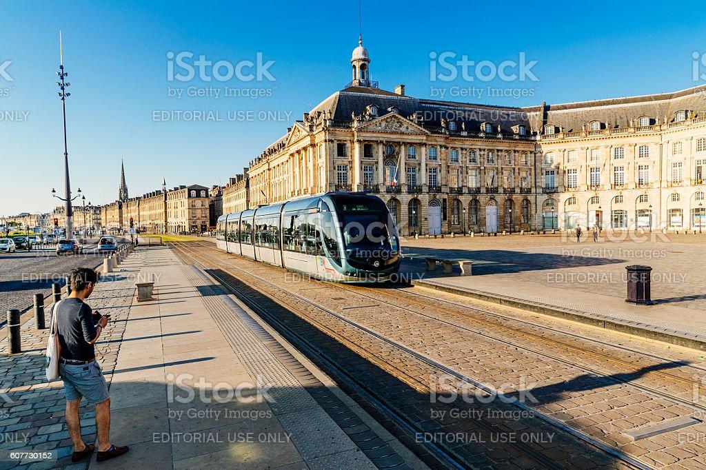 Morning tram commute, Bourse, Bordeaux stock photo
