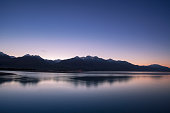 Morning twilight and mountain peak in New Zealand
