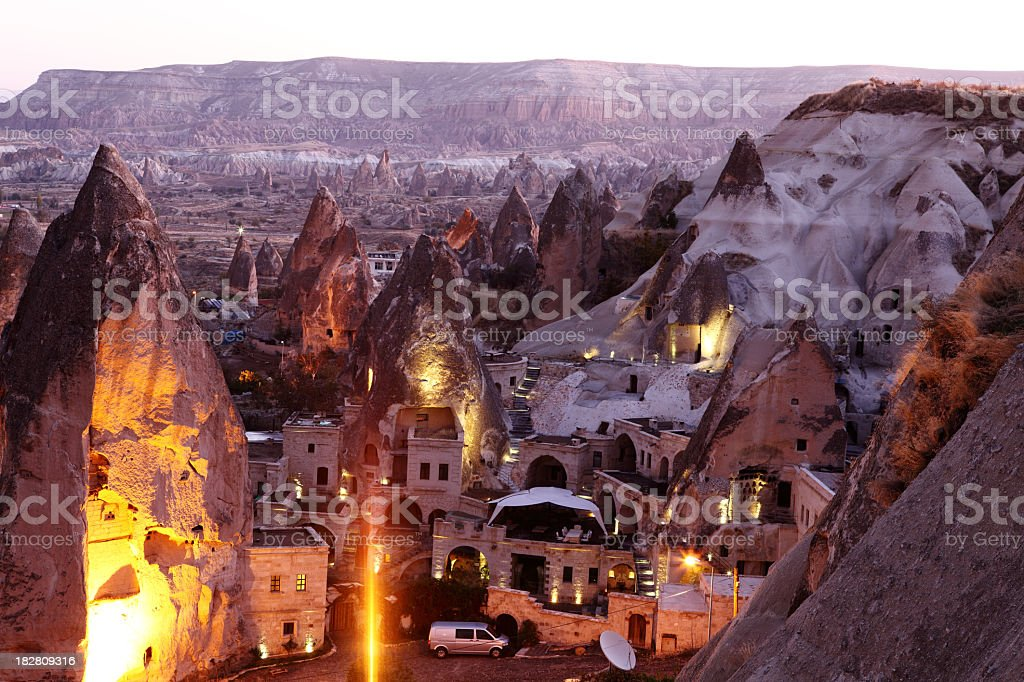 Morning Twilight in Fairy Chimneys of Goreme Valley Cappadocia stock photo