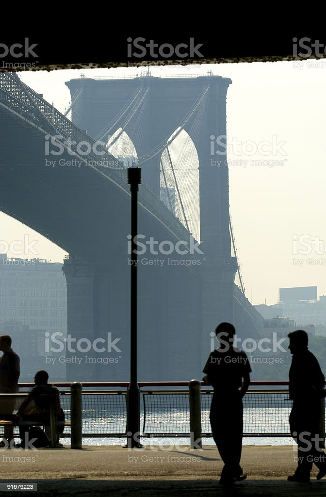 Morning under the Brooklyn Bridge royalty-free stock photo