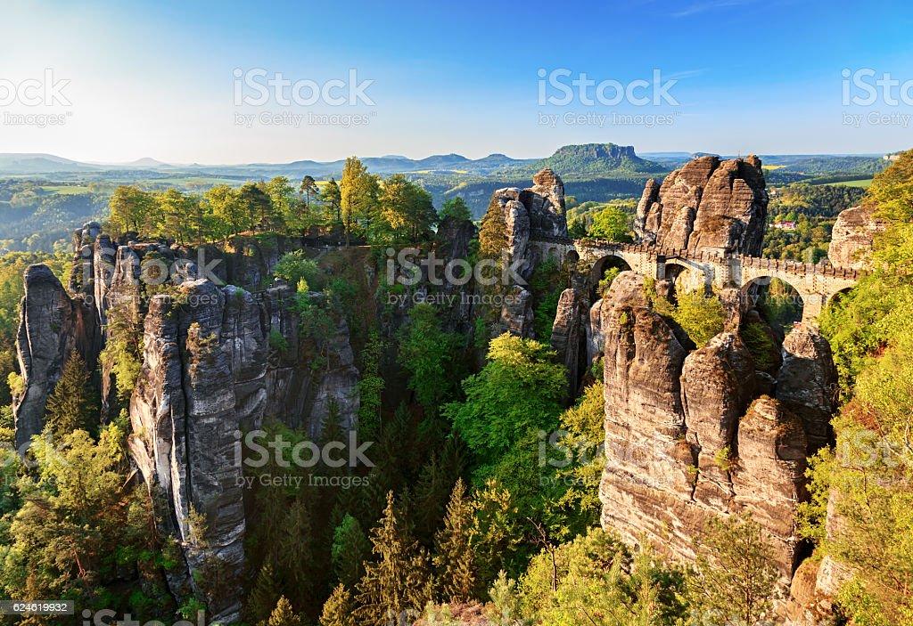 Morning view Bastei rocks and bridge in Saxon Switzerland, Germany stock photo