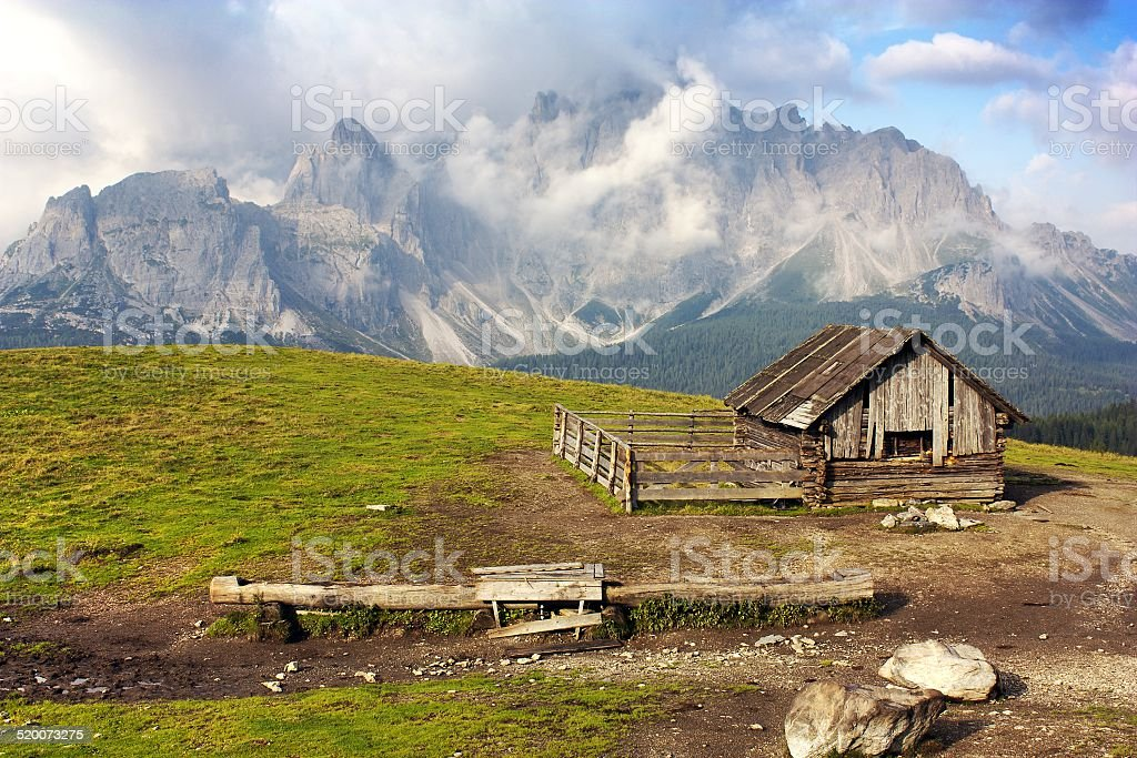 Morning view from Sexten Dolomites with chalet stock photo