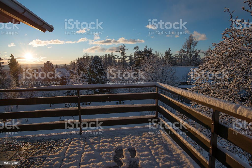 Morning view from the snow covered balcony stock photo
