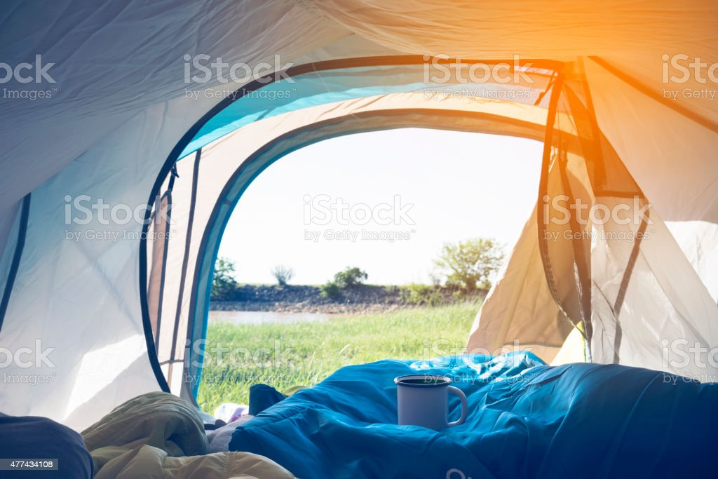Morning view from the tent stock photo