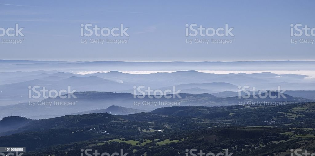Morning view from the top of a mountain stock photo