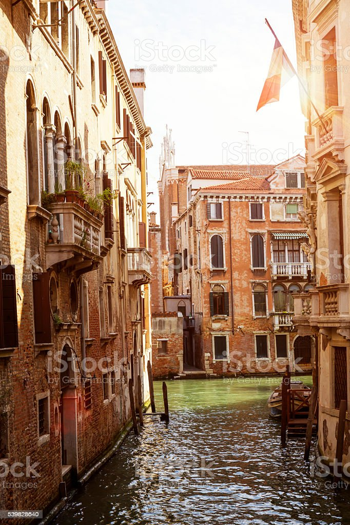 Morning view of a beautiful canal in Venice stock photo