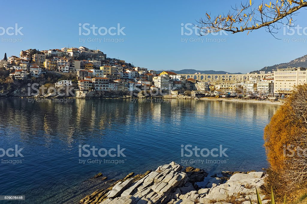 Morning view of aqueduct and old Old town of Kavala stock photo