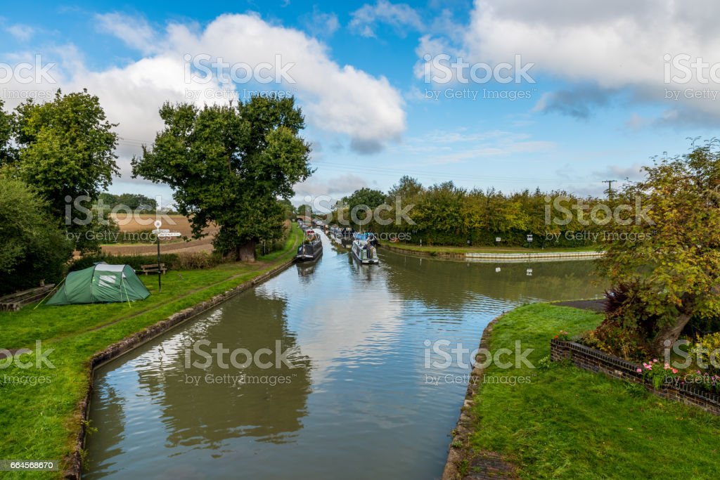 Morning view of boat canal in England stock photo